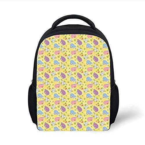 Kids School Backpack Elephant,Blossoming Cartoon Flowers and Animal Mascots Balloons Bow Ties Playful Clip Art,Multicolor Plain Bookbag Travel Daypack