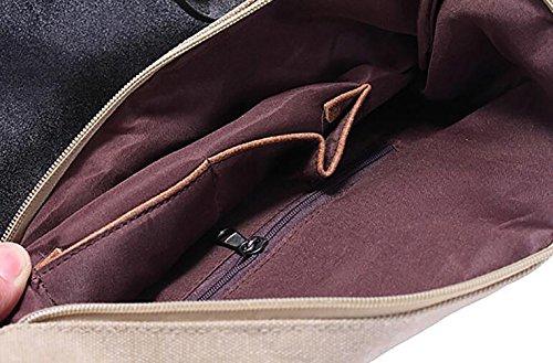 Adore Center Unisex Tasche Echtleder Canvas Stern Shopper Schultertasche Handtasche Vintage Portemonnaie 4 Farben wählbar Grün