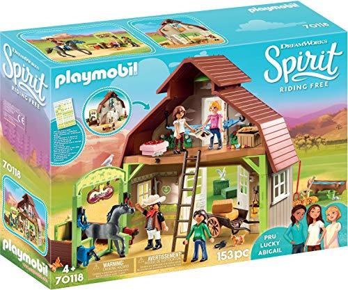 PLAYMOBIL DreamWorks Spirit 70118 Pferdestall mit Lucky, Pru & Abigail, Ab 4 Jahren