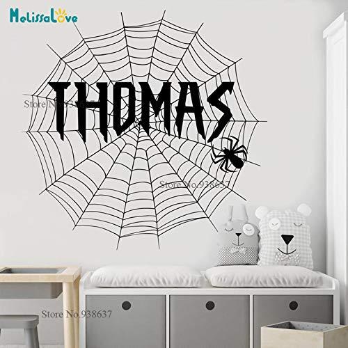 er personalisierte Aufkleber Cobweb Baby Boy Zimmer abnehmbare Vinyl Wall Decal benutzerdefinierten Namen Kindergarten 60x60cm ()