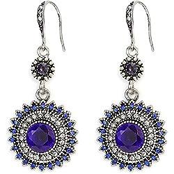 Suyi Pendientes Colgantes De Girasol Bohemio Aretes Colgantes De Diamantes De Imitación Nacionales Joyas Pendientes De Piedras Preciosas Vintage Blue