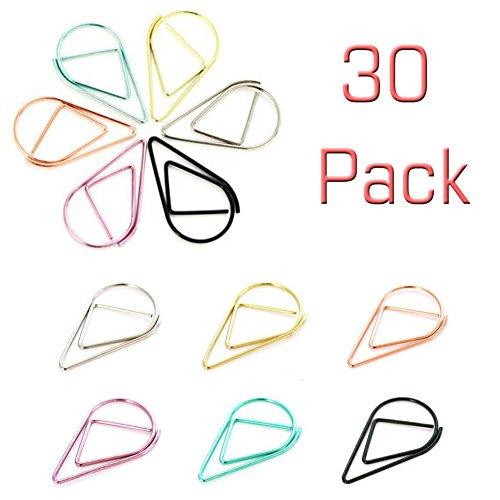 Beauty360 Pinzas de encuadernación decorativas clip de carpetas Clip de carpetas de documentos artística nueva forma de acero 30 x Clip de papel 2,5 cm
