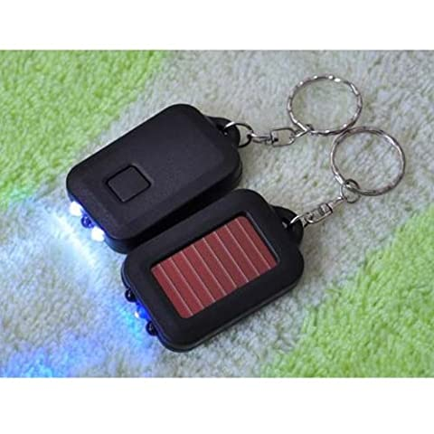 BESTIM INCUK Small Lightweigh 3 LED Solar Power Flashlight Torch Lamp Keyring with Key Chain