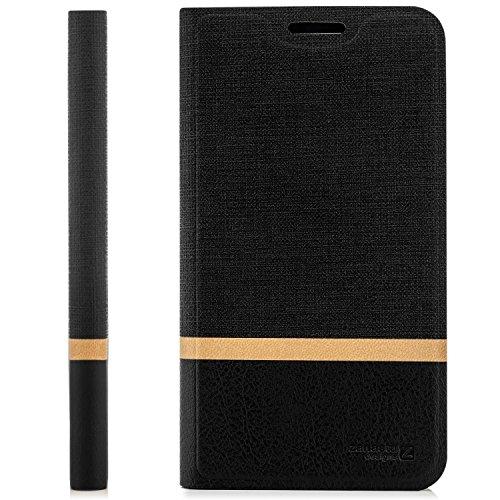 zanasta Tasche kompatibel mit HTC Desire 530 Hülle Flip Case Schutzhülle Handytasche mit Kartenfach Schwarz