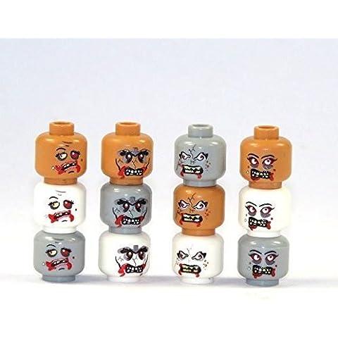 12 Custom Zombie Cabezas de piezas LEGO impresión alta calidad ninguna Pegatina TOP