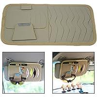 Itian Multifunktion Leder Abdeckung Sonnenblende CD/DVD Aufbewahrung Halter Holder Organizer für Ihr Auto