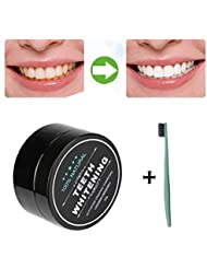 OverDose Activated Charcoal Natural Teeth Whitening Powder Natural Organic Bamboo Toothpaste for Stronger Healthy White Teeth (30g Teeth Whitening Powder + 1 PC Toothbrush)