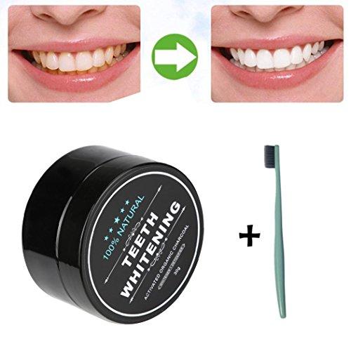 Poudre de blanchiment des dents,LHWY Blanchiment des dents poudre naturelle charbon de bois de bambou activé poudre