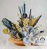 38° Parallelo Creations - Composizione floreale profumata realizzata su ciotola ovale di terracotta decorata - Idea regalo Made in Italy - CLS0200005 AZZURRA