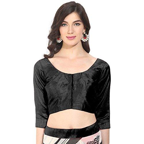 Triveni Graceful nero arte seta, blusa con Backstring e latkan (nappa) Black S