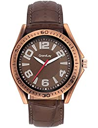 GRANDLAY MG-3073 MAGNIFICENT ROUNDED BROWN DIAL WITH BROWN STRAP WATCH FOR MENZ
