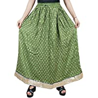 Mogul Interior Lola Womens Maxi Skirt Flare Printed Vintage A-Line Golden Boder Boho Long Maxi Skirts S/M/L (Green)