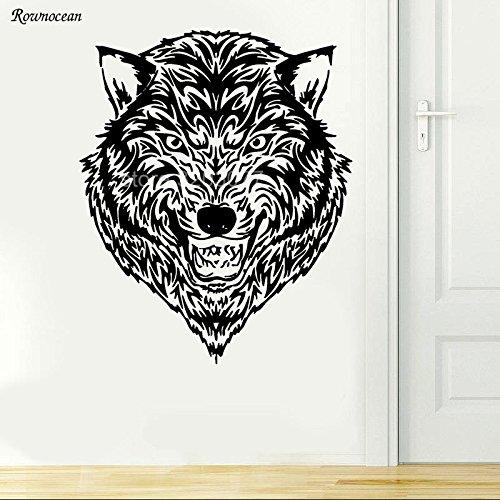 Wall Art Vinile Decal Murale Animal Wild Wolf Dog Tribal Ringhiando L 57x70cm