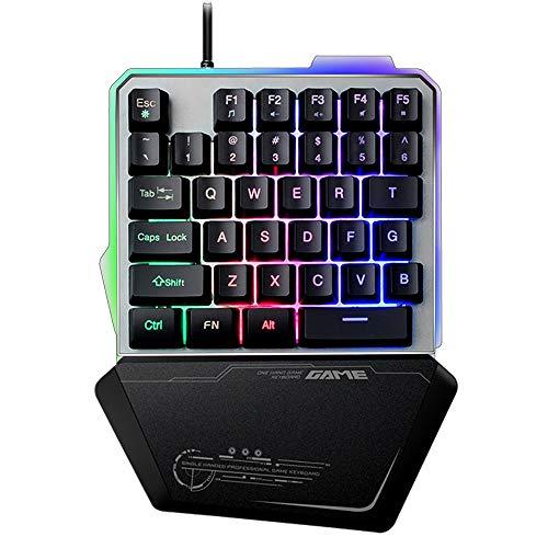 LexonTech G40 Einhand-USB-Gaming-Tastatur, verkabelt, 35 Tasten, Regenbogen-LED-Hintergrundbeleuchtung, tragbare Mini-Gaming-Einhandtastatur, ergonomisches Design mit Handballenauflage (schwarz) - Vista Usb-tastatur