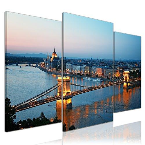 Kunstdruck - Budapest Skyline bei Nacht - Bild auf Leinwand - 100x60 cm 3 teilig - Leinwandbilder - Bilder als Leinwanddruck - Wandbild von Bilderdepot24 - Städte & Kulturen - Europa - Kettenbrücke und Donau Budapest-bild
