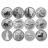 Yoin 12 Teile/Satz Russische 12 Tierkreiszeichen Gedenkmünzen Exquisite Silber Souvenir Metallhandwerk Münzen