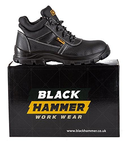 Bottes de sécurité Black Hammer en cuir pour homme résistantes à l'eau classe S3 avec protection en fer aux orteils Noir