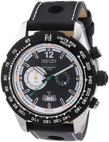 Nautec No Limit Men's Quartz Watch with Black Dial Chronograph Display and Black Leather Strap XL IP QZ LTIPBKBK / Indianapolis