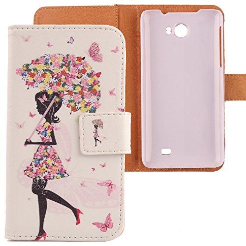 Lankashi PU Flip Leder Tasche Hülle Case Cover Schutz Handy Etui Skin Für Kazam Trooper 2 5.0 Umbrella Girl Design
