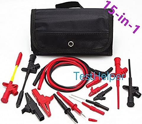 15-in-1 TestHelper TH-8-KIT Electronic Specialties Automotive Test Probes Kit,Test Leads Set Alligator Clips Piercing Test Clips Pince Mini Hooks 4mm Banana Plug for Universal Multimeter