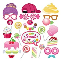 AIYANG Sweet Candyland Photo Booth Props Pink Doughnut Lollipop Candy Ice Cream Cake Booth Props for Baby Shower Birthday Bridal Shower Wedding Candyland Party Supplies (25Pcs)
