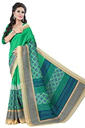 Glory Sarees Women's Bhagalpuri Art Silk Saree(vnart24_green)