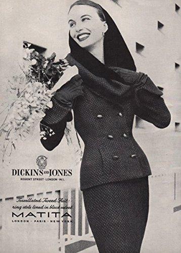 matita-dickins-jones-tessellated-tweed-suit-ring-stole-fashion-advert-1955-old-antique-vintage-print