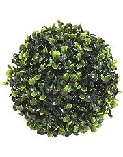 Fourwalls PVC Plastic Artificial Eucalyptus Boxwood Topiary Grass Ball (18 cm Total Diameter, Green)