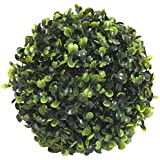 Fourwalls PVC Plastic Artificial Eucalyptus Boxwood Topiary Grass Ball (18 cm Total Diameter, Green)