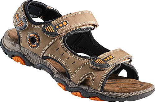 Nordcap Trekkingsandalen, Damen- und Herren- Sandalen, Wander- und Outdoor- Sandalen mit regulierbaren Schnallen und Profilsohle für mehr Trittsicherheit (Größen: 37-46, Farbe: Braun/Orange) -