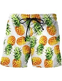 cc9b5ca82ef29 Homme Short Ajusté à Imprimé Hawaien Plage,Overdose Été Casual Bermuda Slim  Chino Pantalon Skinny