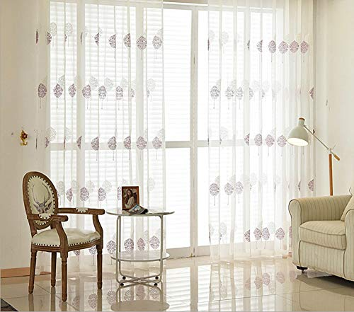 BW0057 Sheer Curtain Panel Embroidery Rod Pocket Top for Living Room Nursery (1 Panel W 50 x L 95,inch) -