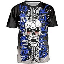 SEVENWELL Unisex Camisetas Divertidas Calavera Hip-Hop Camisa Verano Punk  Cráneo Manga Corta Tee Tops e36fc14167a