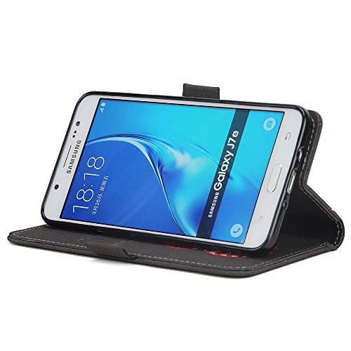 Custodia Samsung Galaxy J7 2016, ISAKEN Samsung Galaxy J7 Cover con Strap, Elegante borsa Dente di leone Design in Pelle Sintetica Ecopelle PU Case Cover Protettiva Flip Portafoglio Case Cover Protezi Dream: nero