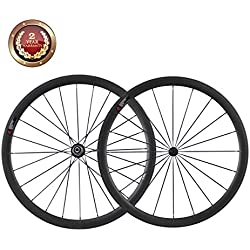 IMUST Full Carbon Road Bike Wheelset 38mm Clincher 700C Aero Juego de ruedas Shimano 10/11 Velocidad