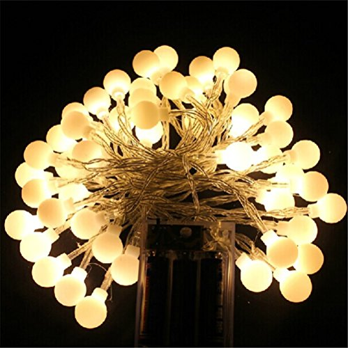 Cababy 5M 50 LEDs Ball String Lights Battery Operated Christmas Lights Holiday Wedding Party Decoration(Not Included Battery) - Warm White