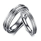 Gnzoe Herren Ringe Sandstrahlen Edelstahl Freundschaftsring Einzigartig Ringe Silber 5MM Gr.57 (18.1)