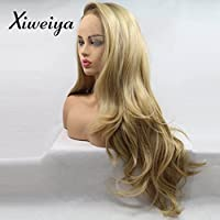 Xiweiya Peluca larga rubio con peluca marrón de raíces sirena larga rubio peluca sintética larga rubio