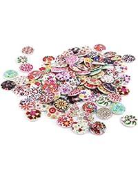 Lot de 100pcs 25mm Bouton en Bois Dessin de Couleurs Mélangées pour Couture Bricolage Artisanat