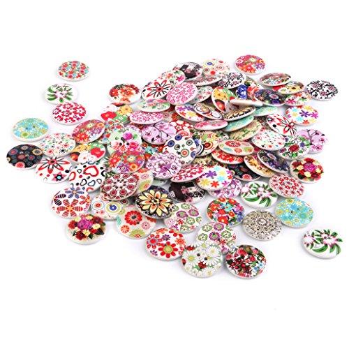 25mm Mixtas De Dibujo Color De Botones De Flores De Impresion Para Coser 100pcs Artesania Bricolaje