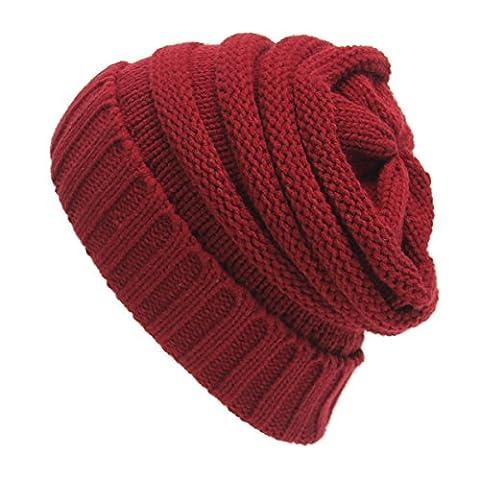 Knitting Bonnet en laine chaude - iParaAiluRy unisexe de luxe à la mode Slouchy souple Cap Bonnet en hiver et au printemps (Du vin-Rouge)
