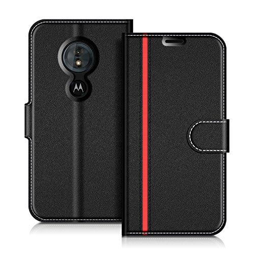 COODIO Motorola Moto G6 Play Hülle Leder Lederhülle Ledertasche Wallet Handyhülle Tasche Schutzhülle mit Magnetverschluss/Kartenfächer für Motorola Moto G6 Play, Schwarz/Rot