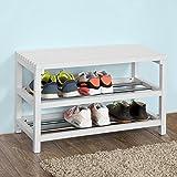 SoBuy® estante del zapato, estantería para zapatos, Zapatero 2 niveles, blanco,FSR29-W, ES