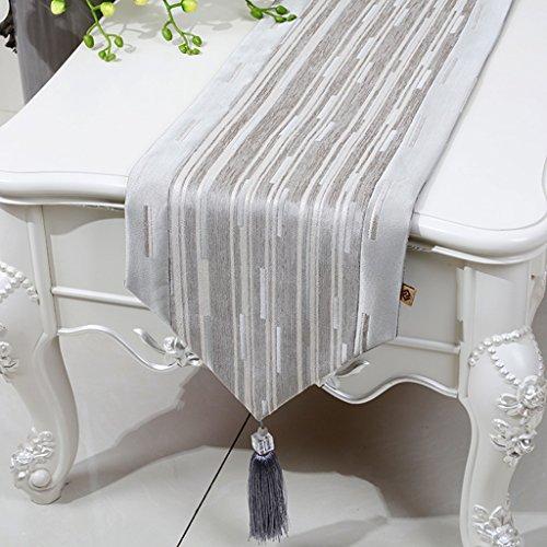 ZCJB Chemin de table Chemin De Table Simple Moderne Classique Chenille Stripe Coton Et Lin Table Table Lit Drapeau Table Basse Tapis (Couleur : Gris clair, taille : 33x280cm)