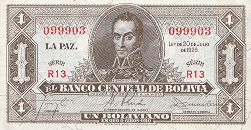 Bolivien Pick-Nr: 128c leicht gebraucht (II) L.1928 (1952) 1 Boliviano (Banknoten für Sammler) -