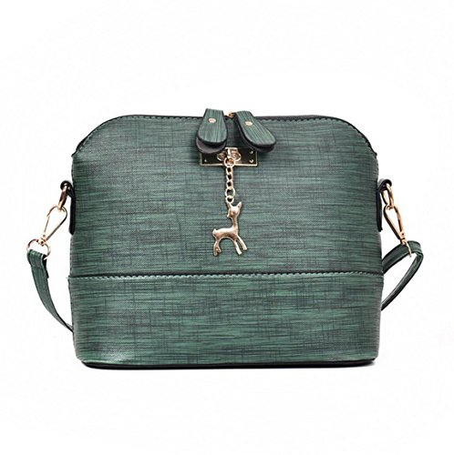 Moonuy,Frauen Leder Handtasche, Messenger Bags Vintage kleine Shell Leder Handtasche Lässig Paket Solid Color Messenger Bags (Grün)