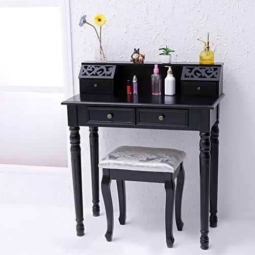CCLIFE Schminktisch mit Hocker Frisierkommode Frisiertisch Kosmetiktisch schminkkommode schlafzimmerkommode, Farbe:Schwarz