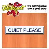 5527 leise Bitte Tür Zeichen wetterfest - Alu Schild oder Vinyl Aufkleber (Selbstklebende Vinyl blau auf weiß)