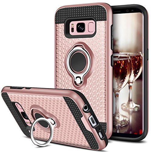 Samsung Galaxy S8 Hülle, Coolden® Premium Handyhülle mit Ring Fingerhalterung 360 Grad Drehbarer Ständer Anti-Scratch 3D Muster Dual Layer Bumper Stoßfest Schutzhülle für Samsung Galaxy S8(Rosa)