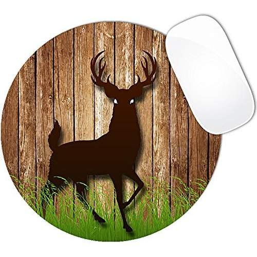 or Brown Wood Green Grass Mouse Pad (ROUND) (Brown Deer)
